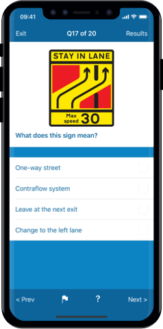 Motorcycle Theory Test 2020 UK for iPhone, Mac and Android- Flag and Review Questions